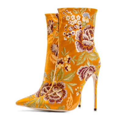 Yellow Women's Floral Embroidered Elastic Booties Sock Ankle Boots 12cm Stiletto Heels