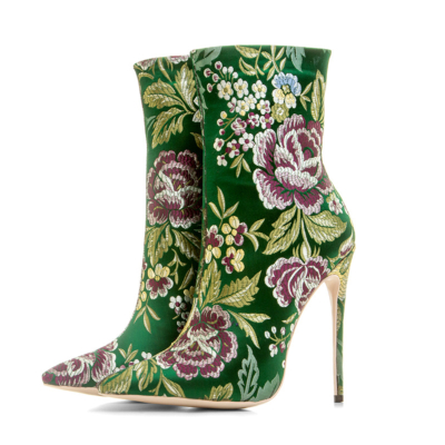 Women's Floral Embroidered Elastic Booties Sock Ankle Boots 5