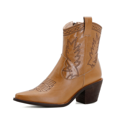 Women's Leather Cowboy Boots Block Low Heeled Western Ankle Boots