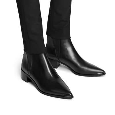 Women's Oil Leather Chelsea Boots Heeled Ankle Boots
