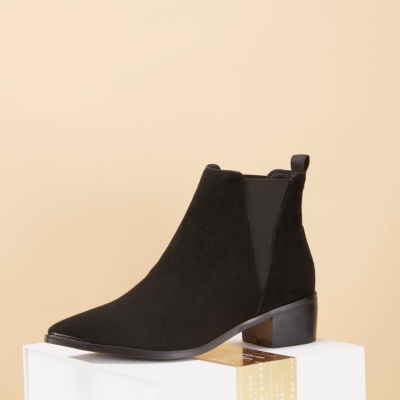 Women's Suede Chelsea Boots Trendy Heeled Ankle Boots