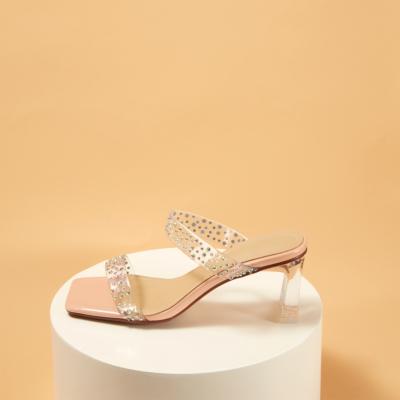 Women's Rhinestones Embellished Clear Mule Chunky Heel Sandals