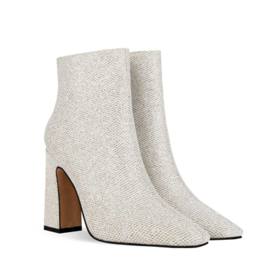 White Mesh Shiny Women's Square Toe Chunky Heel Dress Booties Ankle Boots