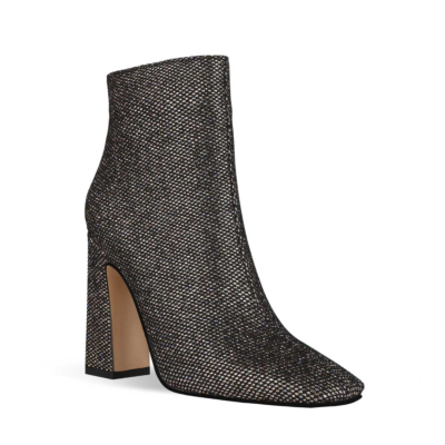 Black Mesh Shiny Women's Square Toe Chunky Heel Dress Booties Ankle Boots
