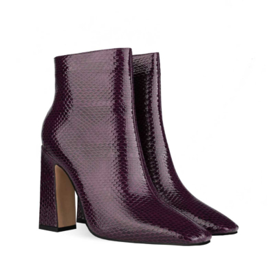 Purple Women's Square Toe Chunky Heel Dress Booties Ankle Boots