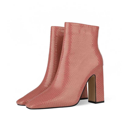 Women's Square Toe Chunky Heel Dress Booties Ankle Boots