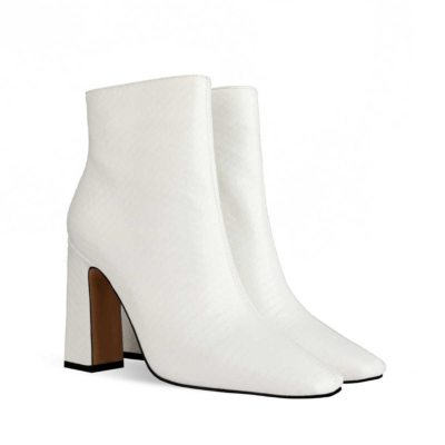 White Women's Square Toe Chunky Heel Dress Booties Ankle Boots
