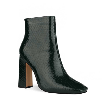 Dark Green Women's Square Toe Chunky Heel Dress Booties Ankle Boots