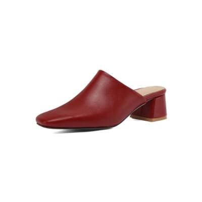 Burgundy Women's Square Toe Vegan Leather Low Block Heel Mules Shoes
