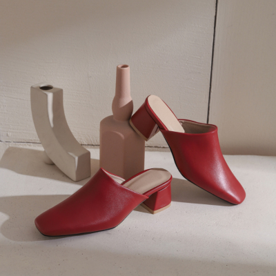 Burgundy Women's Square Toe Vegan Leather Low Block Heel Mules Shoes