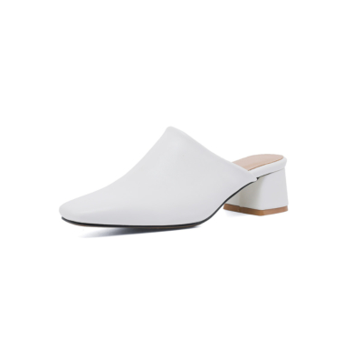 White Women's Square Toe Vegan Leather Low Block Heel Mules Shoes
