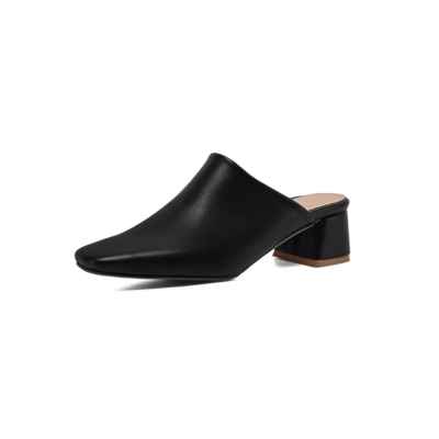 Women's Square Toe Vegan Leather Low Block Heel Mules Shoes