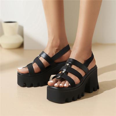 Women Strappy Chunky High Heel Gladiator Platform Sandals Rivet Black Shoes