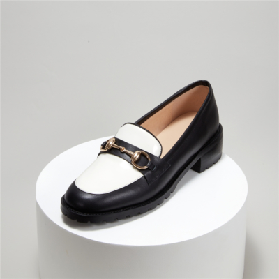 Women Two-ton Leather Horsebit Loafers Pumps with low Heel