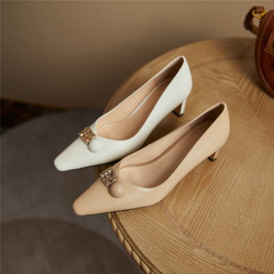 Womens Leather Work Shoes Chunky Heels Crystal Buckle Pumps