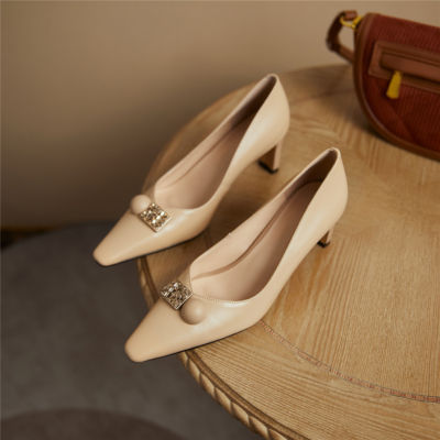 Womens Leather Work Shoes Chunky Heels Crystal Buckle Pumps in Nude