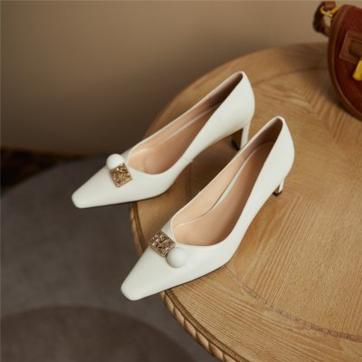 Womens Leather Work Shoes Chunky Heels Crystal Buckle Pumps in White