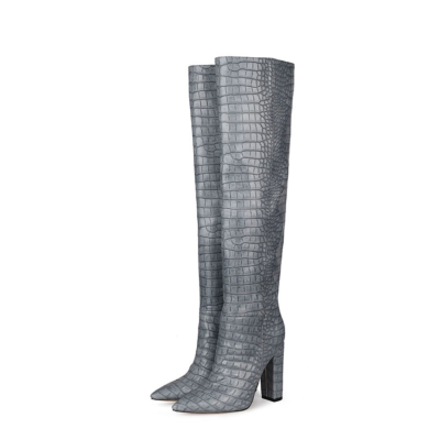 Grey Croc-Embossed Womens Chunky Heel Wide Calf Thigh High Boots