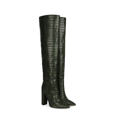 Dark Green Croc-Embossed Womens Chunky Heel Wide Calf Thigh High Boots