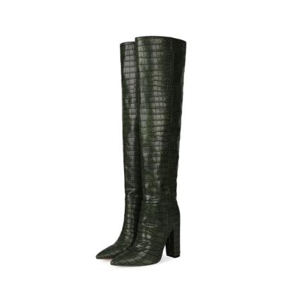 Dark Green Croc-Embossed Womens Chunky Heel Wide Calf Thigh High Boots