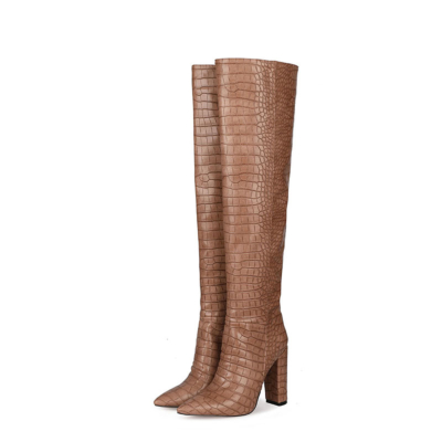Brown Croc-Embossed Womens Chunky Heel Wide Calf Thigh High Boots