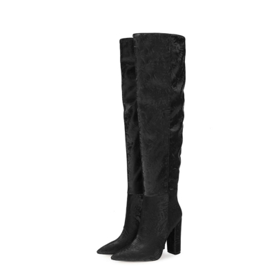Over the Knee Boots Womens Chunky Heel Wide Calf Thigh High Boots