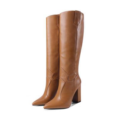 Brown Womens Wide Calf Cowboy Boots Knee High Boot