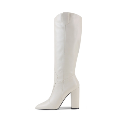White Womens Wide Calf Cowboy Boots Knee High Boot