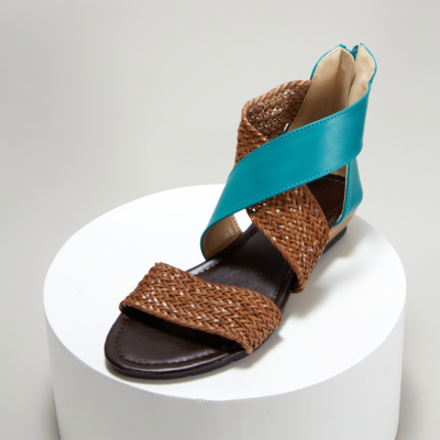 Blue Woven Criss Cross Zipper Low Heel Gladiator Sandals