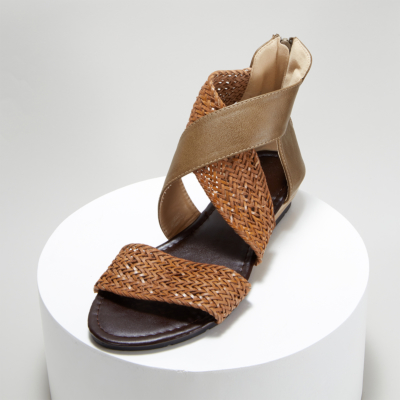 Brown Woven Criss Cross Zipper Low Heel Gladiator Sandals