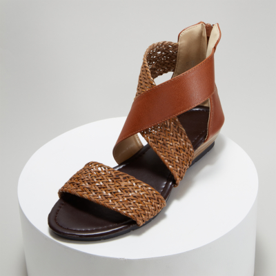 Tan Woven Criss Cross Zipper Low Heel Gladiator Sandals