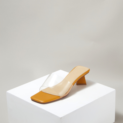 Yellow Clear Sqaure Toe Mule Scuplture Heel Sandals