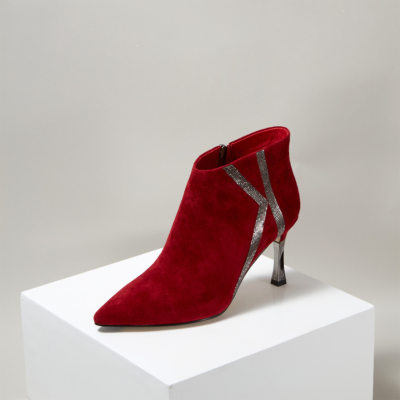 Red Suede Rhinestones High Heel Woman Ankle Boots