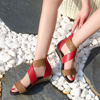 Red Woven Criss Cross Zipper Low Heel Gladiator Sandals