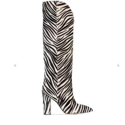 Black&White Horsehair Zebra V-Cut Block Heel Knee High Boots