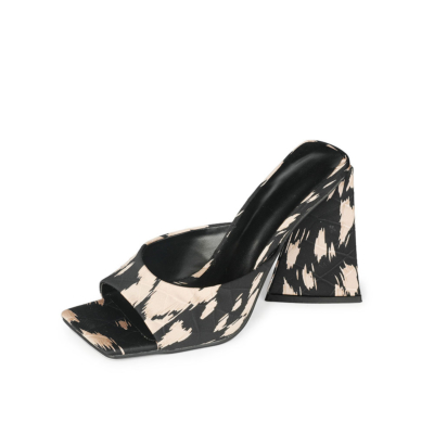 Pink Zebra Print Heeled Slide Sandals Square Toe Satin Quilted Mules 4 inch Heels
