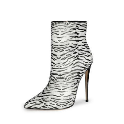Zebra Printed 5 inch Stiletto High Heels Ankle Boots with Pointed Toe