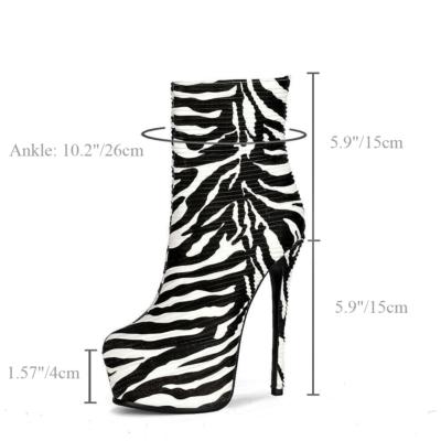 Zebra Printed Round Toe Stiletto Platform Ankle Boots