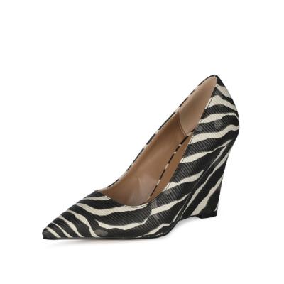 Zebra Printed Womens Wedge Heel Shoes Dress Pumps 4 inch Heels