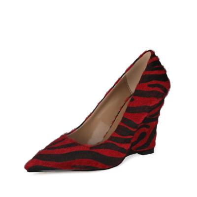 Red Faux Fur Zebra Printed Womens Wedge Heel Shoes Dress Pumps 10cm Heels