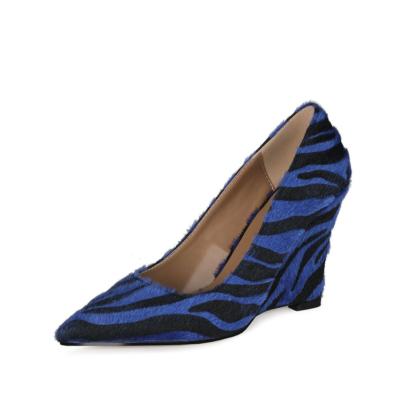Blue Faux Fur Zebra Printed Womens Wedge Heel Shoes Dress Pumps 4 inch Heels