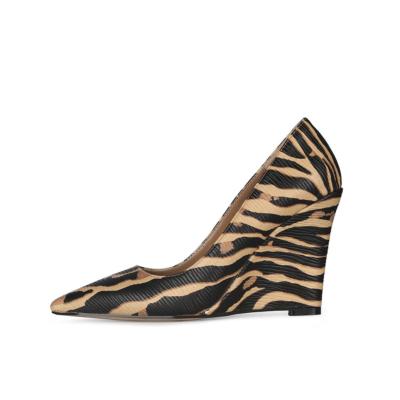 Brown Zebra Printed Womens Wedge Heel Shoes Dress Pumps 4 inches Heels