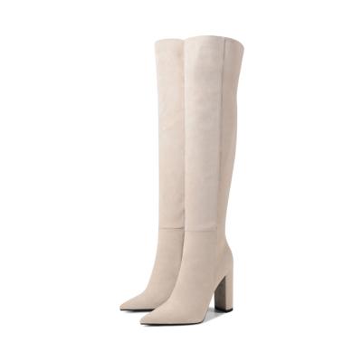 Beige Suede Heeled Zipper Wide Calf Long Dress Boots