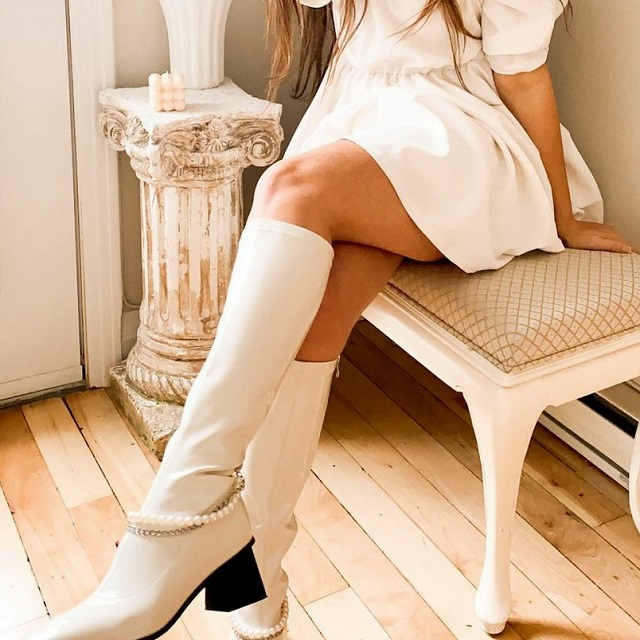 @justineejeil How To Pair With White Leather Knee High Boots